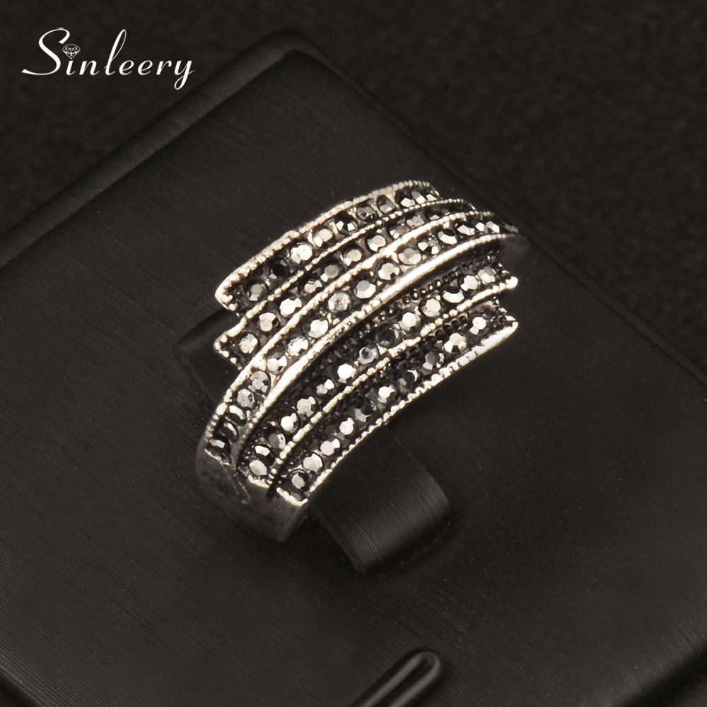 SINLEERY Vintage Black Cubic Zirconia Wing Finger Rings Women Antique Silver Color Statement Jewelry Size 7 8 9 Jz155 SSC