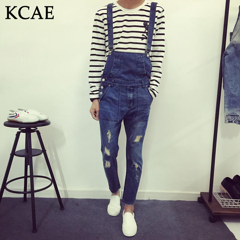 Fashion Bib Denim Overalls For Men 2015 Summer Long Solid Blue Slim Cowboy Overall Cotton Hole
