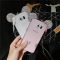 Hot Luxury 3D Diamond Glitter Mickey Minnie Mouse Ears bling Rhinestone Clear Phone Cases Cover For samsung s6 s6edge s7 s7edge