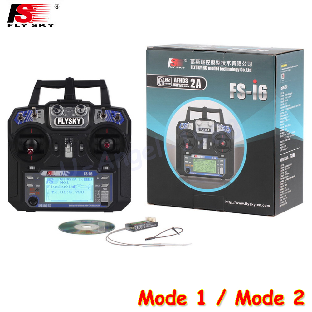 Free shipping + 2014 New Version FS FlySky FS-i6 2.4G 6ch Transmitter and Receiver System LCD screen for RC helicopter VS FS-T6