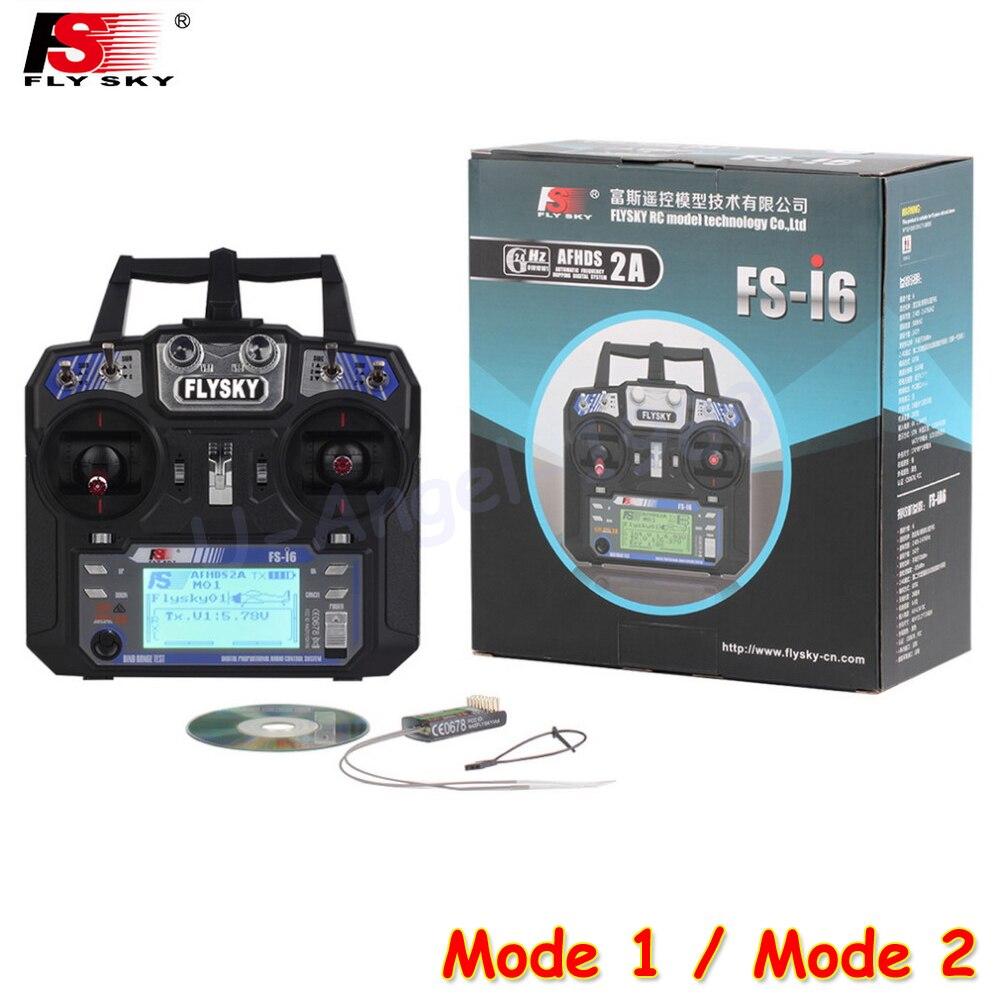 Flysky FS-i6 FS I6 2.4g 6ch RC transmisor controlador FS-iA6 o IA6B receptor para RC helicóptero plano quadcopter modo 1 modo 2