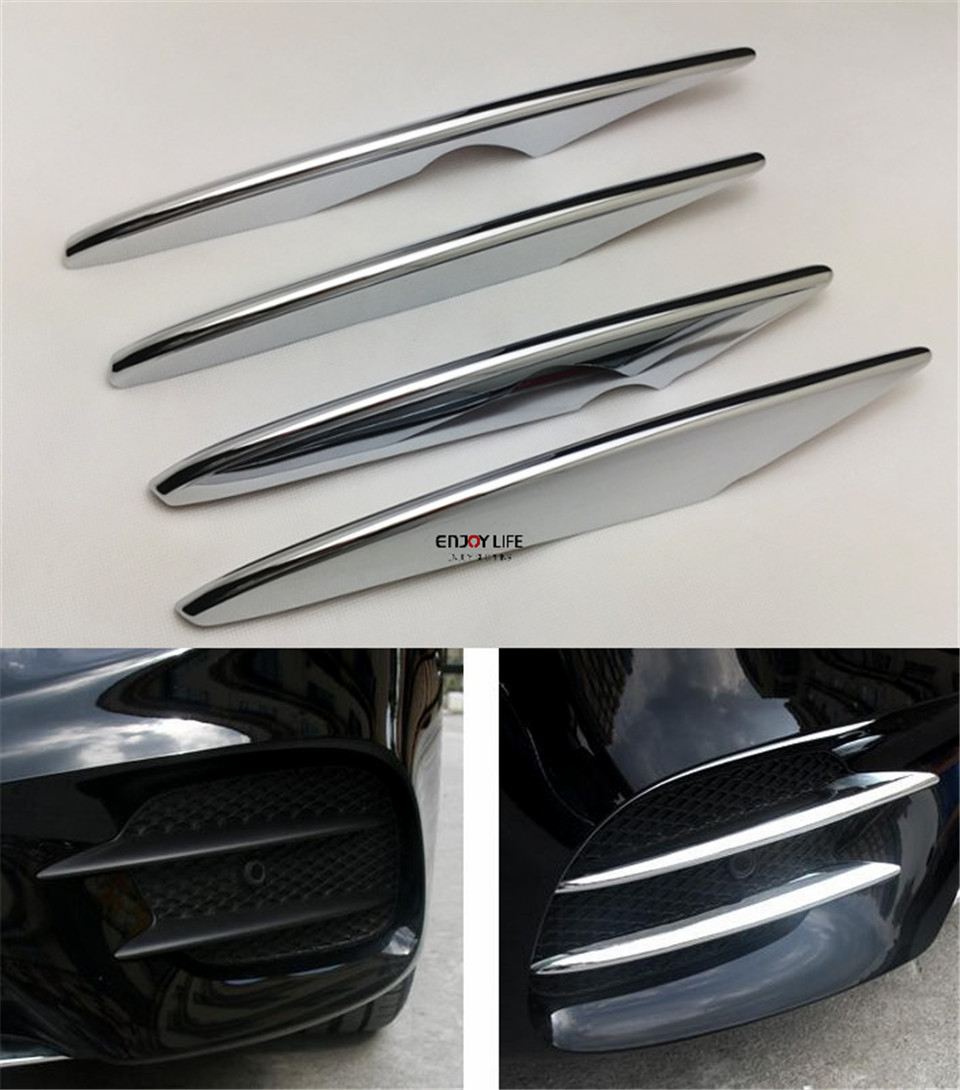 4pcs set ABS Chrome Front Fog Light Lamp Cover Sticker Trim Stripe For Mercedes Benz GLC