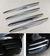 4pcs/set ABS Chrome Front Fog Light Lamp Cover Sticker Trim Stripe For Mercedes Benz GLC Class X253 2015 2016 2017 Sport