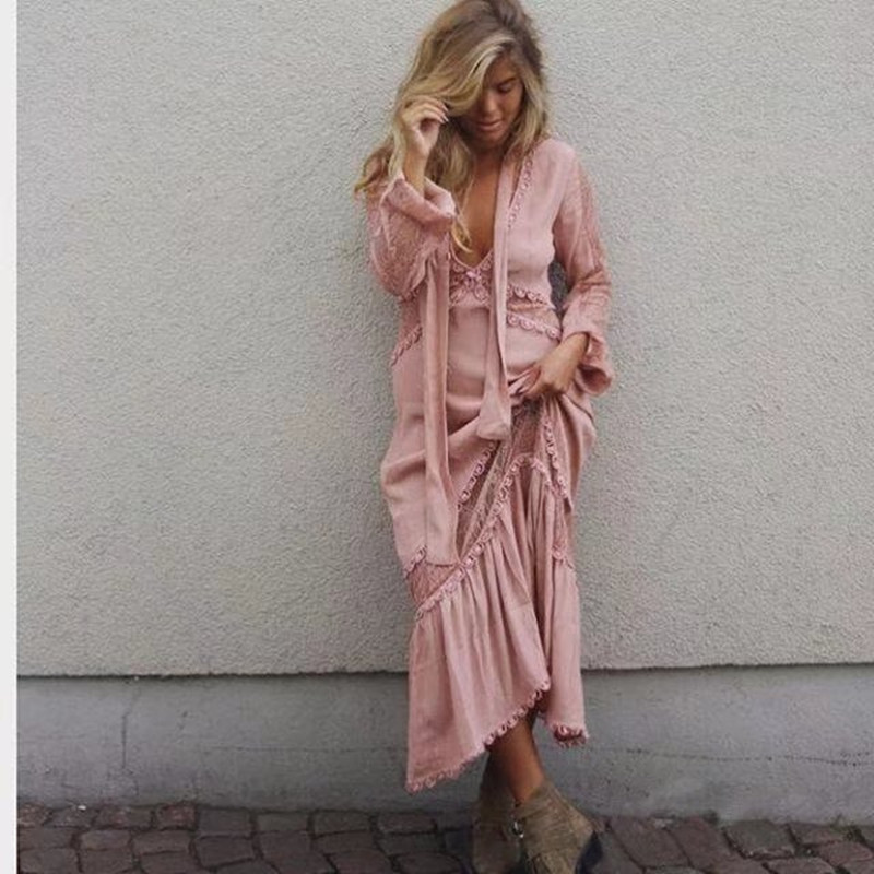 Pink Boho Dress 2018 New Hollow Lace Decoration Long Sleeve Femme Dresses Sexy Deep V-neck Irregular Women Beach Tunic