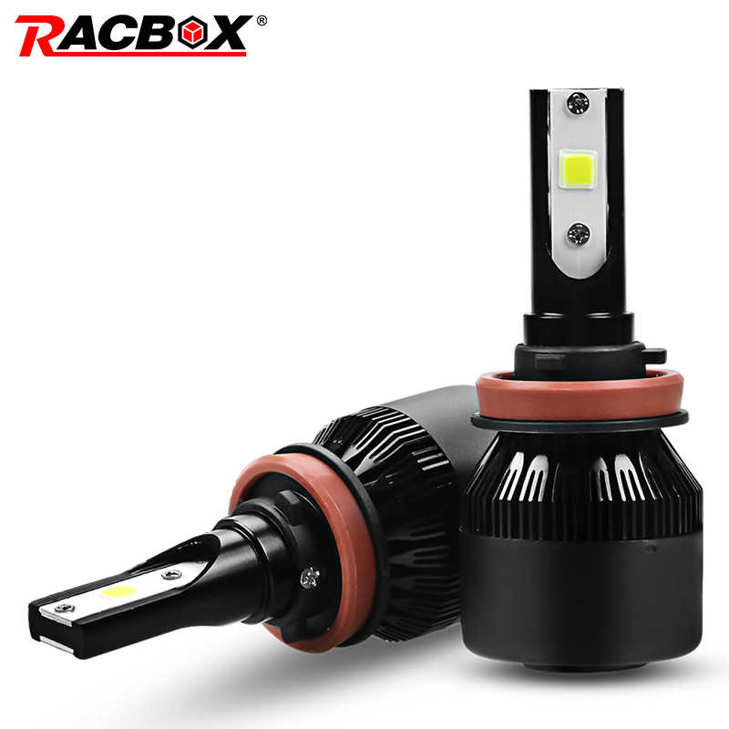RACBOX 72W 8000LM H1 H4 H7 H8 H9 H11 HB3 HB4 9005 9006 Car LED Headlight Bulb High Low 12V 24V White 6000K