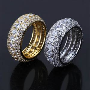HIP Hop Luxury Cubic Zircon Men Women Ring Fashion Gold Silver Color Classic AAA Rhinestone Rings for Male Finger Size 7-11