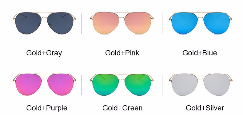 Mirrored Gold Frame Aviator Sunglasses Lens Color Choices