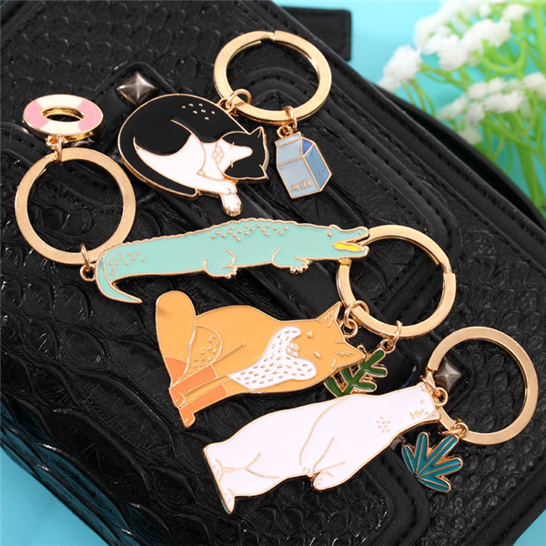 Trendy Cute Animal Alloy Keys Keychain Car key rings Novelty Item Christmas Gift For Girlfriend