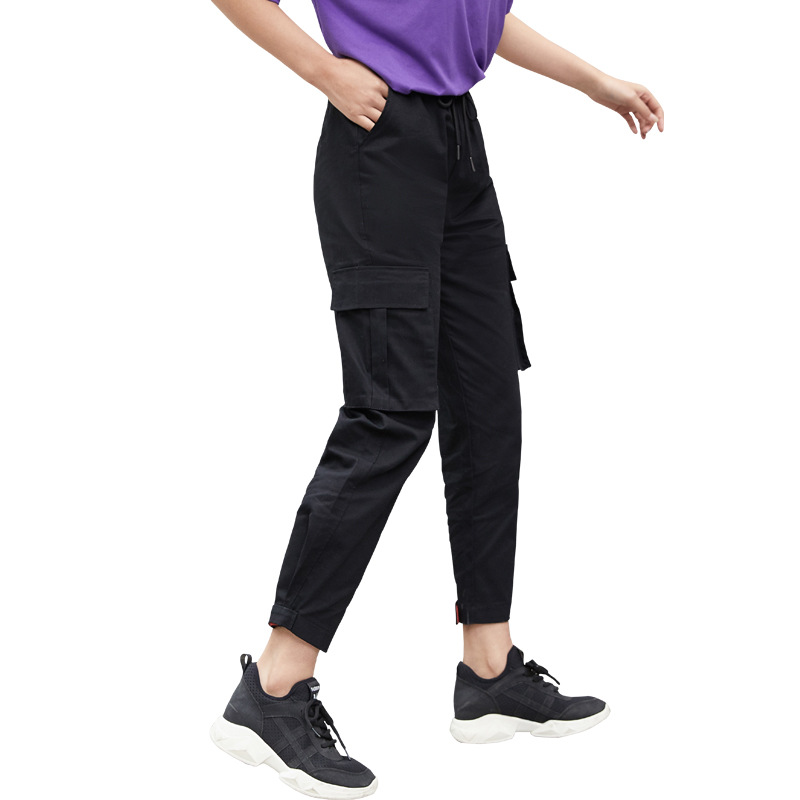 2019 Streetwear Cargo Pants Women Casual Joggers Black High Waist Loose Female Trousers Style Ladies Pants Capri Bundle overalls