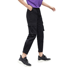 купить 2019 Streetwear Cargo Pants Women Casual Joggers Black High Waist Loose Female Trousers Style Ladies Pants Capri Bundle overalls дешево