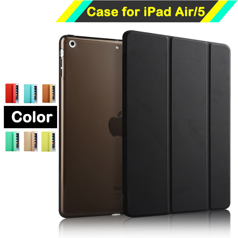 Intelligent Magnetic Smart Stand PU Leather Case for iPad Air 1 iPad 5 with Crystal Hard Back Cover with Auto Sleep / Wake sgl luxury ultra smart stand cover for ipad air 1 ipad5 case luxury pu leather cover with sleep wake up function for ipad air1