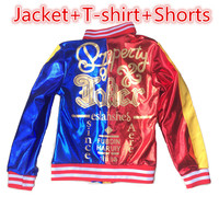 New Children Girls Kids Suicide Squad Harley Quinn Cosplay Costumes Halloween Joker Printed Jacket T Shirt
