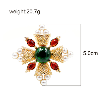 CINDY XIANG New Arrival 2018 Fashion Pearl Baroque Brooches Pin Cross Brooches for Women Coat Accessories Vintage Jewelry Gift 1