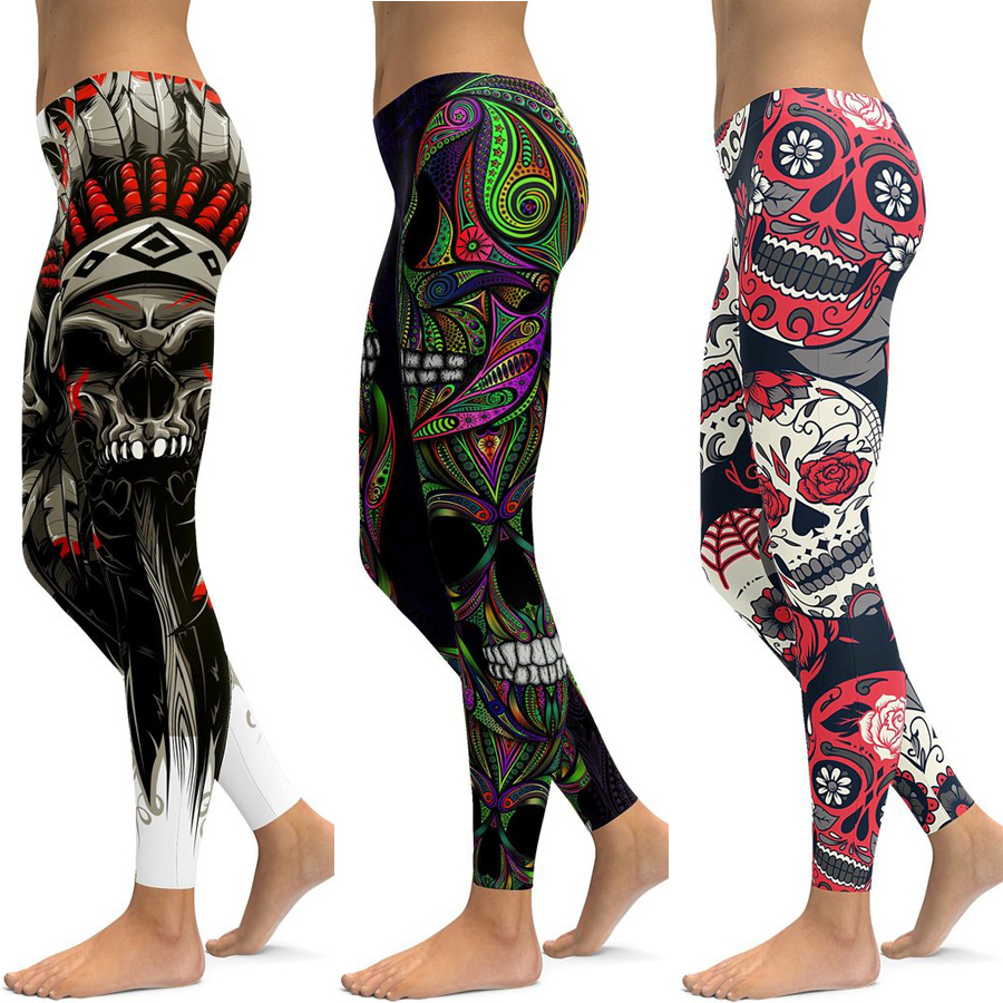 LI FI Skull Leggings Yoga Pants Women Sports Pants Fitness Running Sexy Push Up Gym Wear Elastic Slim Workout Leggings in Yoga Pants from Sports Entertainment