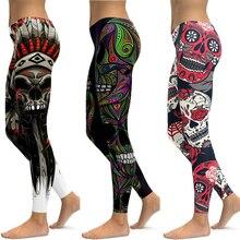 цена на LI-FI Skull Leggings Yoga Pants Women Sports Pants Fitness Running Sexy Push Up Gym Wear Elastic Slim Workout Leggings