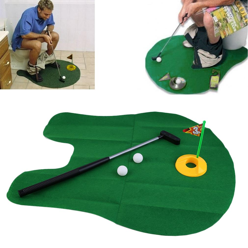 Funny Potty Putter Toilet Time Mini Golf Game Novelty Gag Gift Toy Mat Hot Selling