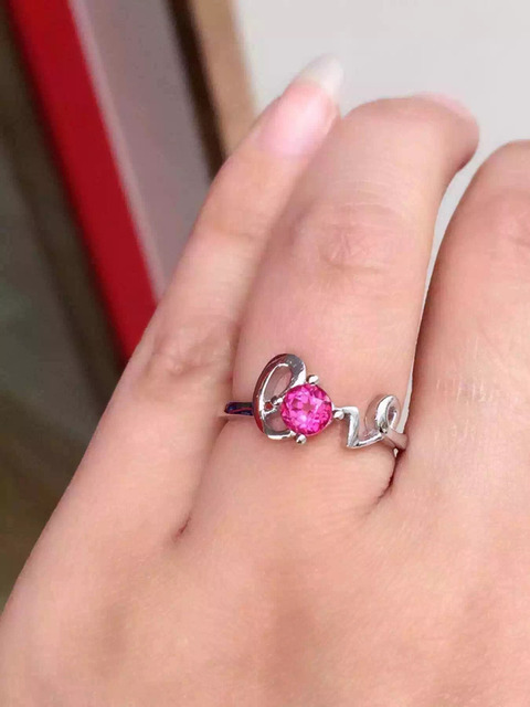 Natural pink topaz gem ring Natural gemstone ring S925 sterling silver ring trendy elegant romantic love women gift Jewelry
