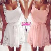 Sexy verano mujer vestidos Casual sin mangas Mini vestido de fiesta blanco vestidos verano mujer chica