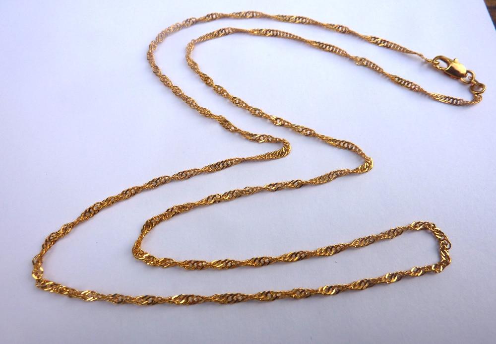 Jewelry & Accessories Chain Necklaces 50cm 3mm Brand Ethiopian Square 18 K Yellow Fine Solid Gold Finish Thick Necklaces Box Chain Dubai Arab