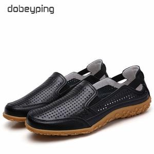 Image 4 - חדש אמיתי עור נשים קיץ נעלי מגזרות אישה ופרס אופנה חלול נשים של דירות לנשימה נשי נעל dobeyping