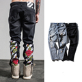 Alta Calidad Mens Fashion OFF-WHITE Rose Bordado Ripped Jeans Denim Masculino 95% Algodón RAYAS BLANCAS Negro Biker Flaco jeans Agujero