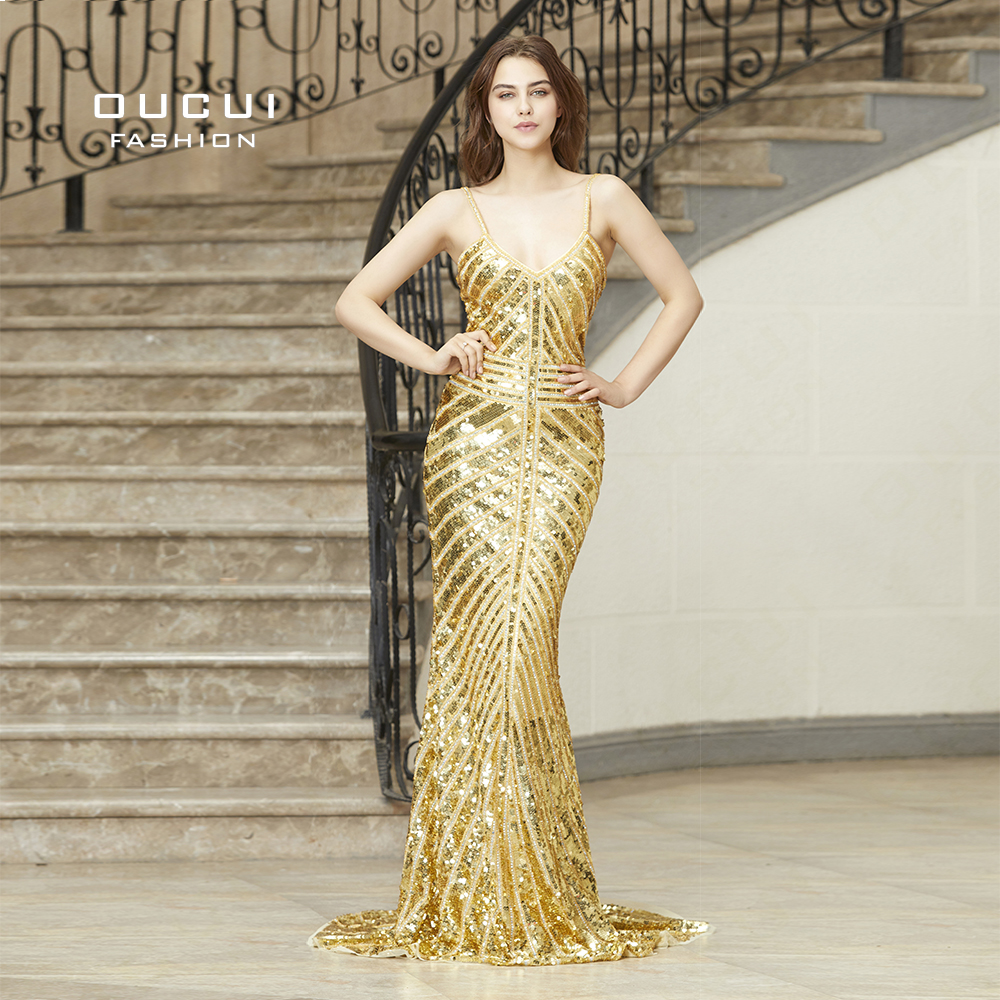 Real Photos Gold Color Beading Handwork Prom Gown Sexy Backless Long   Evening     Dresses   Elegant Party OL103086