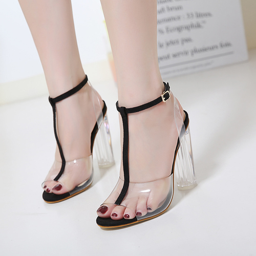 HTB1110eXh2rK1RkSnhJq6ykdpXaM Eilyken Women Sandals Ankle Strap Perspex High Heels PVC Clear Crystal Concise Classic Buckle Strap High Quality Shoes size35-42