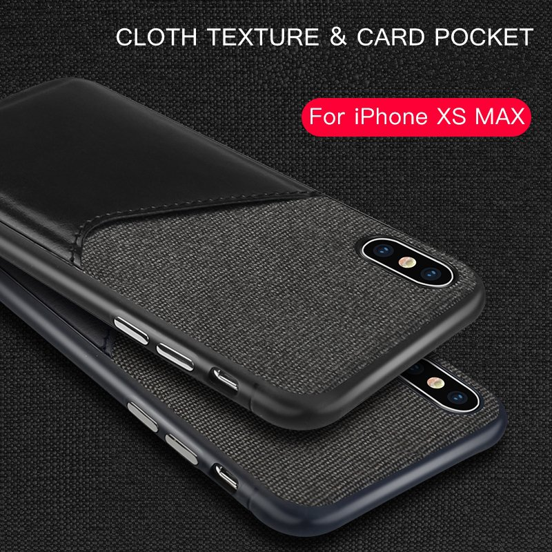 Luxury Leather &Cloth Card Holder For iphone XS MAX iphone X 10 Case Cover Phone Case For iphone 7 8 Plus iphone XR Coque 8Plus iPhone XS