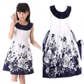 Vestidos de princesa de 2017 Del Verano Sin Mangas Floral Casual Girl Dress Kids vestidos para Niñas 6 8 10 11 12 Años de Los Niños ropa