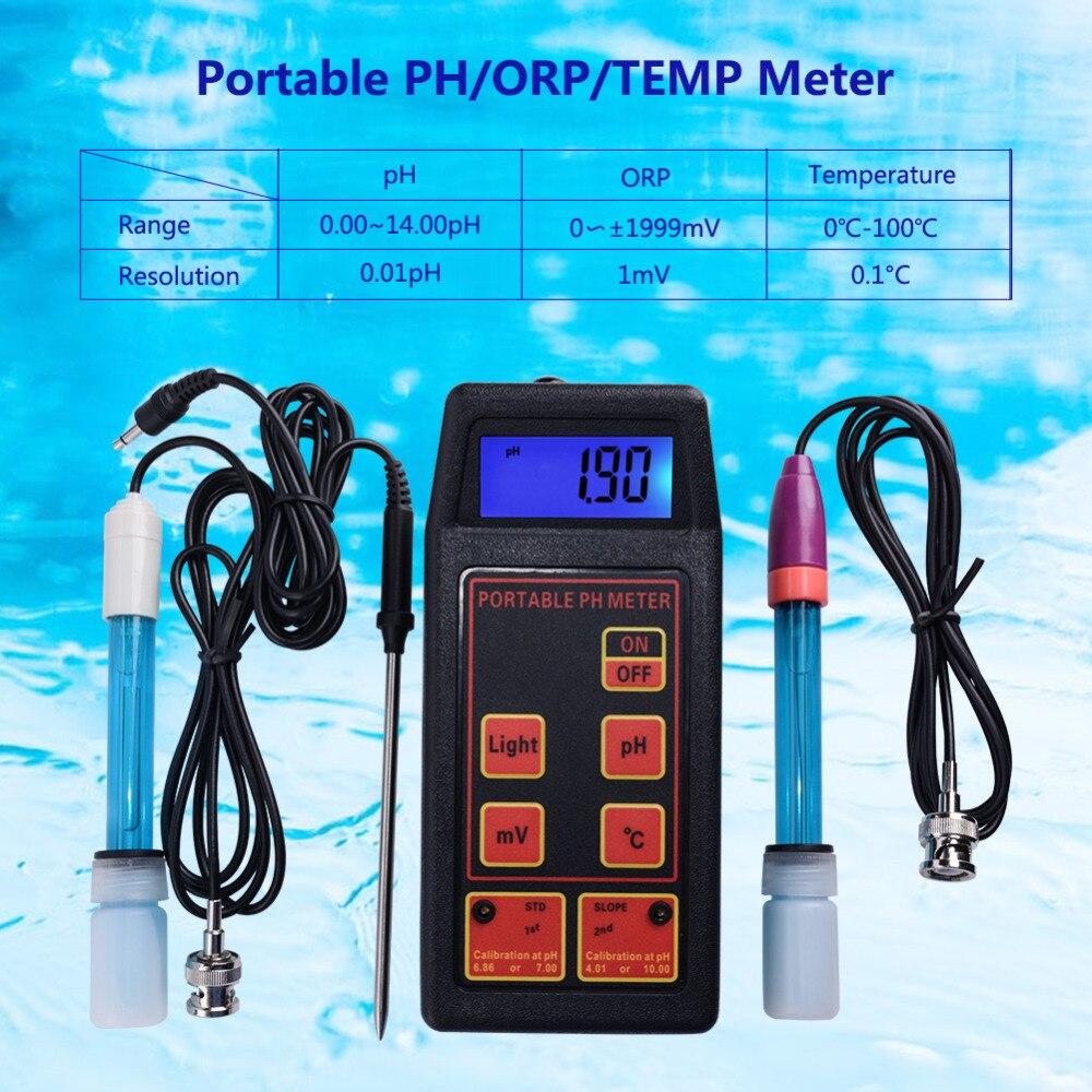Hot Portátil 3-em-1 High-precision Água Tester PH/MV/Termômetro + PH Substituível e Eletrodo ORP + Sonda de Temperatura