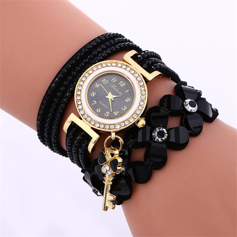 MINHIN Bracelet Watch Velvet-Band Flower Casual Dress Rhinestone Crystal Quartz Gold