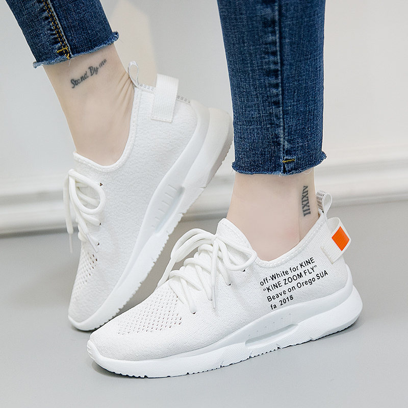 Women Casual Shoes 2018 Spring Autumn Mesh Shoes Woman Flats Fashion Lace-Up White Black Breathable Women Sneakers xiaying smile woman sneakers shoes women flats spring summer thick sole embroider rose lace up black white student women shoes