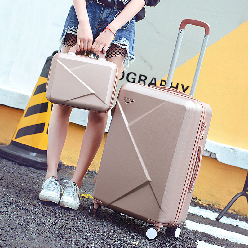 Luggage female small fresh universal wheels trolley luggage14 20 22 24 26 picture box travel bag set,2 pieces set travel luggage