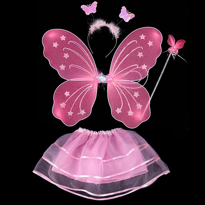 4Pcs Kids Girls Fairy Princess Costume Sets Colorful Stage Wear Butterfly Wings Wand Headband Tutu Skirts Home Decor