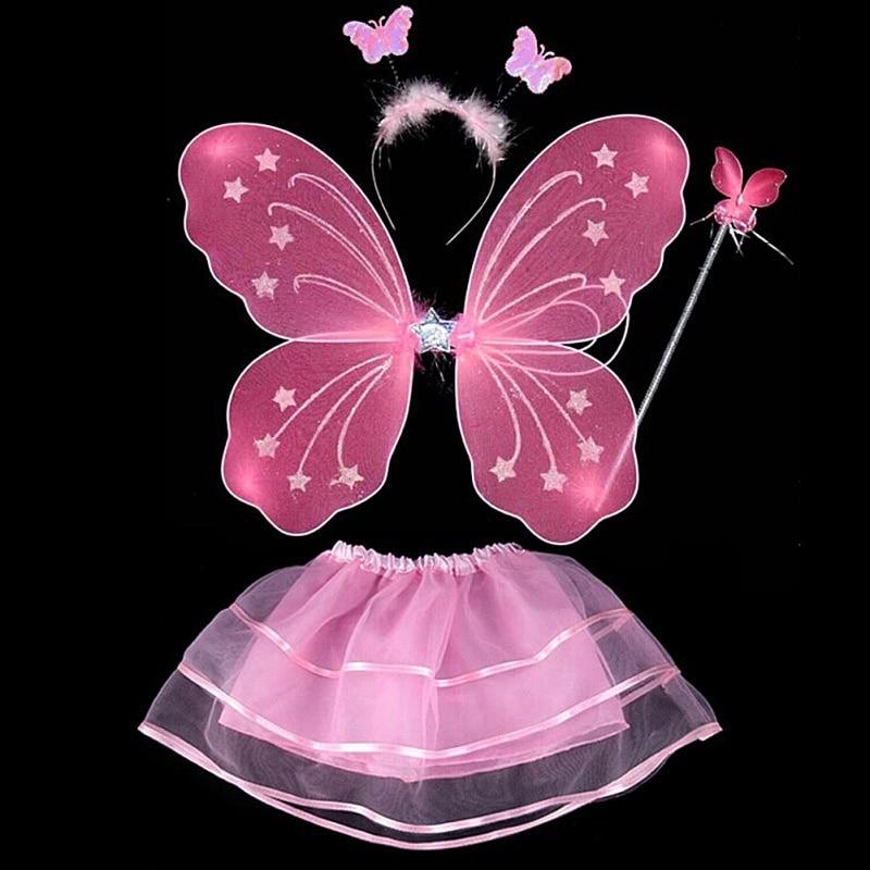 4Pcs Kids Girls Fairy Princess Costume Sets Colorful Stage Wear Butterfly Wings Wand Headband Tutu Skirts Home Decor
