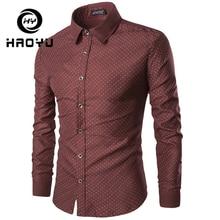 Men Shirt Winter Long Sleeve Print Breathable Shirt Slim Fit Male Casual Shirt Camisas Hombre Polka Dot Tops S 2XL HAOYU polka dot long sleeve casual shirt