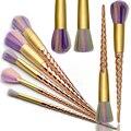 Unicórnio 10 pcs Pincéis de Maquiagem Set Rainbow cabelo Fio de Ouro Cosméticos Blending Pincel de Blush Em Pó Fundação Eyshadow beautykits