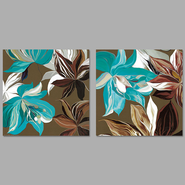 Modern abstract art 2pcs set pictures decoration green gray brown canvas painting wall art for