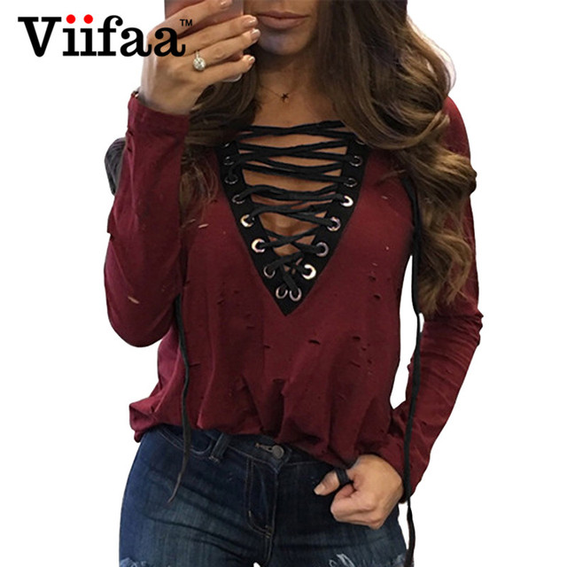 Viifaa Long Sleeve Hole T Shirt Tops Women Ripped Sexy Lace Up Tees Deep V Neck Black Casual T-Shirt