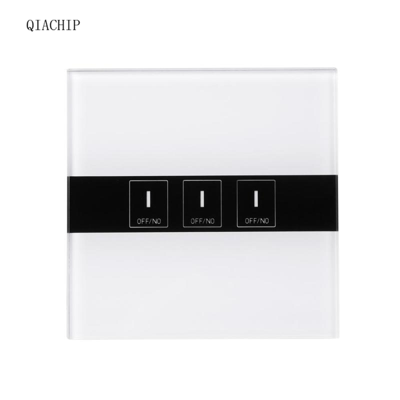 QIACHIP Wifi Smart Switch 3CH wall switch Wireless Timing Touch Switch Remote Control Via APP support Amazon Alexa Google Home qiachip us 3 gang ac90 250v tempered glass wireless wifi remote control smart home touch sensor switch panel for smart phone