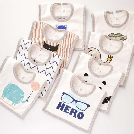 2018 New Arrive Baby Bib Towels Baby Bibs Square Terry Newborn Wear Cartoon Accessories Free Shipping GS10
