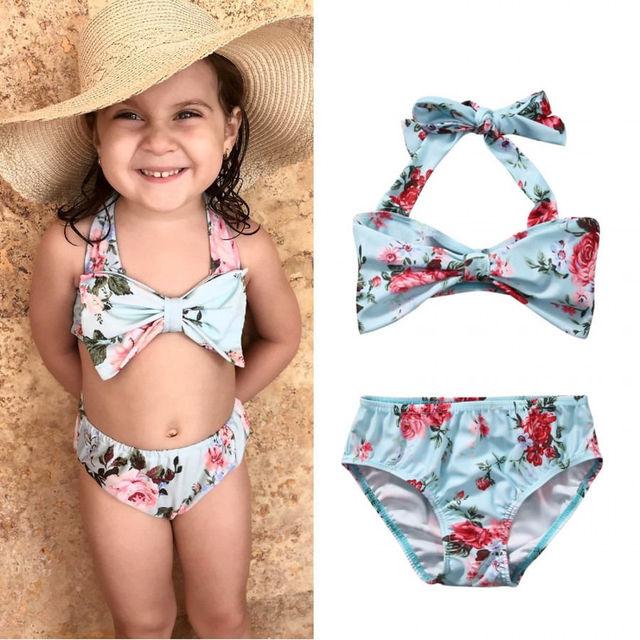 acheter pas cher 9b7c7 0c113 € 4.04 11% de réduction|2 pièces ensemble été natation vêtements enfants  filles infantile Floral Bikini ensemble maillot de bain costume 1 6Y dans  ...