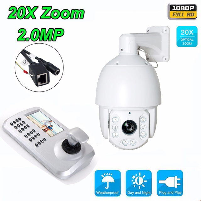 20x Zoom HD1080P 2MP Medium/high Speed dome PTZ Camera CCTV IR security IP Outdoor Camera with Keyboard Controller IP Camera kit 7 waterproof middle speed ptz ip dome camera 150m ir night vision 20x optical zoom ip66 4mp ptz ip dome camera with wiper
