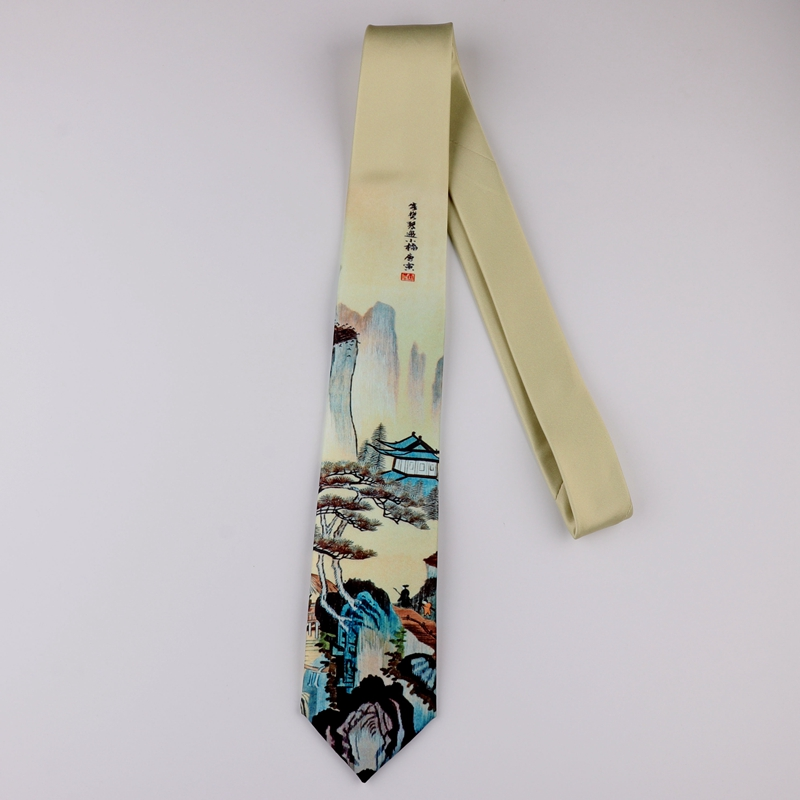 Design Printing Creative Tie Retro Casual Trend Personality Literary Men And Women Youth Chinese Style Landscape Painting Tie