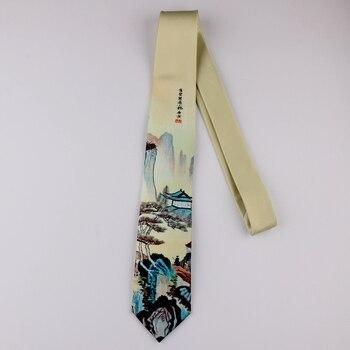 Stampa di disegno creativo tie retrò casuale di personalità di tendenza letteraria gli uomini e le donne della gioventù Cinese pittura di paesaggio di stile cravatta