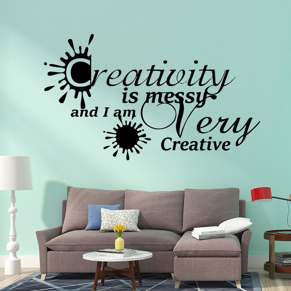 Modern I am very creative Removable Pvc Wall Stickers Waterproof Decals Rooms Home Decoration muursticker
