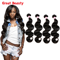 7A Unprocessed Human Hair Brazilian Virgin Hair Body Wave 4 Bundles Customized 10-30 inches Wet and Wavy Virgin Hair Extensions