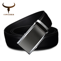 COWATHER 2017 COW Genuine Leather Belts For Men High Quality Male Luxury Brand Jeans Automatic Ratchet