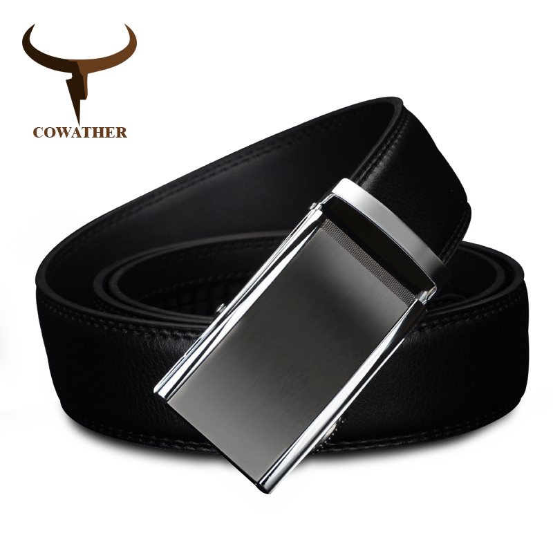 COWATHER 2018 COW genuine Leather   Belts   for Men High Quality Male luxury Brand jeans Automatic Ratchet Buckle 110-130cm long