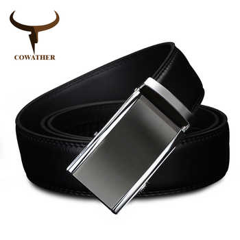 COWATHER 2019 newest cow genuine Leather Belts for Men High Quality Male luxury Brand jeans Automatic Ratchet Buckle 110-130cm - DISCOUNT ITEM  40% OFF All Category